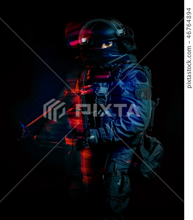 one soldier police swat tactical forces man isolated black backg 46764894