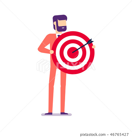 Businessman holding target with arrow. 46765427