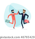 Two businessman jump to high five in the air. 46765429
