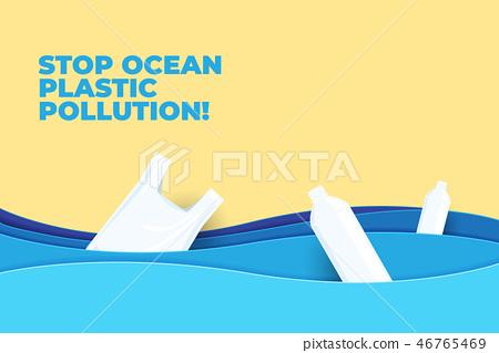 Stop ocean plastic pollution paper art. 46765469