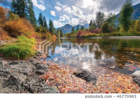 The Fall Scene Around Leavenworth in Washington 46770965