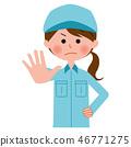 女性上身的工作服停止 46771275