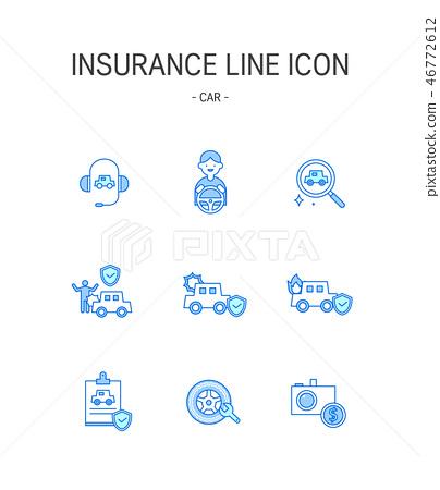 汽車保險上海圖標集 46772612