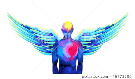 human angel wing mind heaven power watercolor 46773200