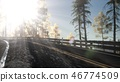 Camera Movement By Road In The Forest  46774509