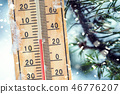 Thermometer on snow shows low temperatures. 46776207