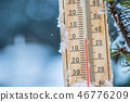 Thermometer on snow shows low temperatures. 46776209