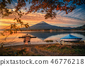 Mt. Fuji over Lake Kawaguchiko with autumn foliage 46776218