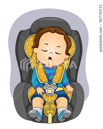 Toddler Boy Sleep Car Seat Illustration 46776535
