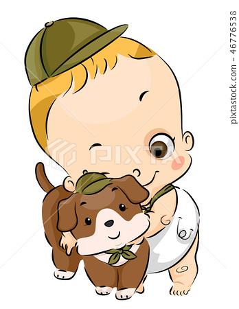 Toddler Boy Scout Pet Dog Illustration 46776538