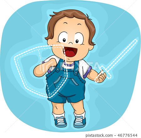 Toddler Boy Imaginary Shield Sword Illustration 46776544