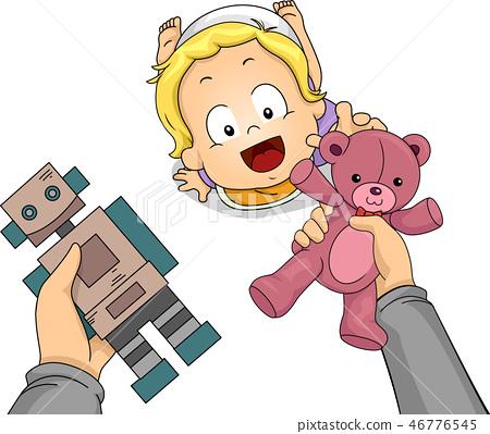 Toddler Boy Hand Hold Choose Toys Illustration 46776545