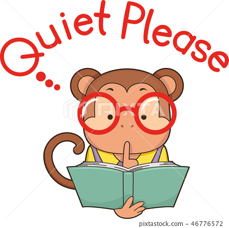 Monkey Library Quiet Please Illustration 46776572