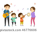 Stickman Kids Family Music Band Illustration 46776606