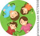 Stickman Kids Family Lie Grass Illustration 46776608