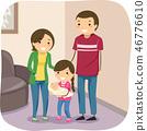 Stickman Kids Family Carry Baby Illustration 46776610