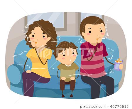 Stickman Kid Boy Family Smoking Illustration 46776613