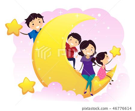 Stickman Family Kids Moon Stars Illustration 46776614