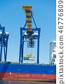 Heavy machinery for unloading at Long Beach Harbor (look from the sea side) 46776809