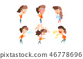 Girl showing different emotions set, girl with different facial expressions and poses vector 46778696