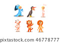 Girl and boy in different masquerade costumes set, ghost, bunny, cow, tiger, lion, vector 46778777