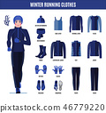 Winter running clothes set for man in flat style. 46779220
