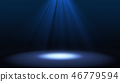 Blue spotlight on stage performance in a theater isolated on bla 46779594