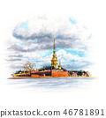 Watercolor Saint Petersburg, Russia 46781891