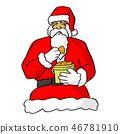 santa claus eating food vector illustration sketch 46781910