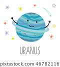 Cartoon Uranus planet. Vector illustration isolated on white background. Cute print for baby 46782116