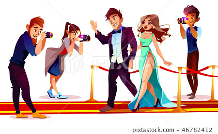 celebrities with paparazzi on red carpet 46782412