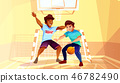 College boys play basketball illustration 46782490