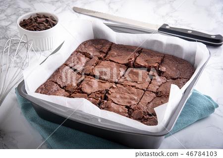 chocolate brownie in steel pan 46784103