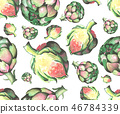 Watercolor seamless pattern with artichokes isolated on white background, 46784339
