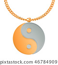 Yin Yang Symbol on golden chain, 3D rendering 46784909
