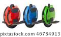 Set of colored electric unicycles, 3D rendering 46784913