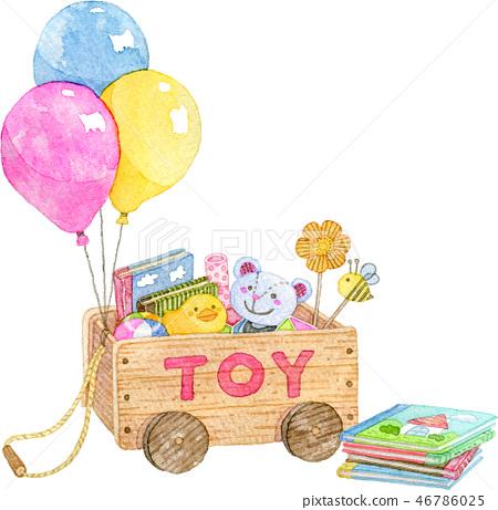玩具箱和圖畫書 46786025