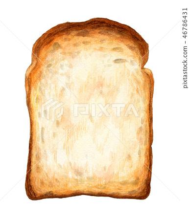 Bread Yamagata Toast Hand Drawn Watercolor Stock Illustration 46786431 Pixta