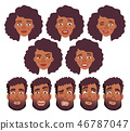 face of African man and woman - set 46787047