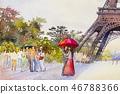 Paris european city. France, eiffel tower.  46788366