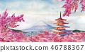Famous landmarks of Japan in spring. 46788367