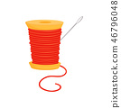 Spool of bright red threads and silver needle. Sewing accessories. Dressmaking theme. Flat vector 46796048