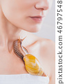 woman receiving snail facial massage. Snail on face. Cleaning procedure in spa salon. 46797548
