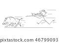 Cartoon of Hunter With Scoped Rifle Hunting Wild Boar or Swine 46799093
