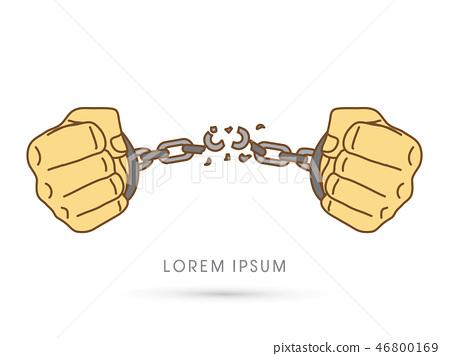 Broken handcuffs graphic vector 46800169