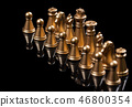 Abstract background. Gold chess with reflection on black background. 46800354