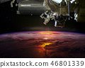 planet Earth from the outer space and spaceship 46801339