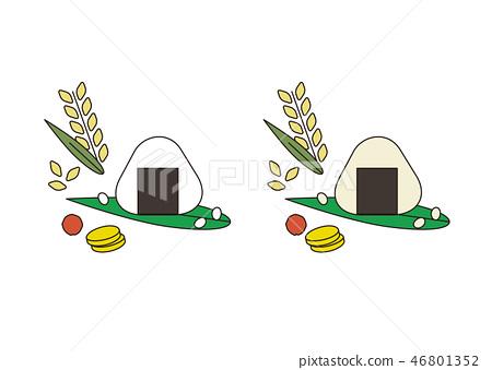 米穗,飯糰,米飯(白米和糙米)粗黑線 46801352