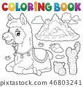 Coloring book llama near mountain 46803241