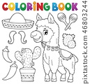 Coloring book llama and objects set 1 46803244